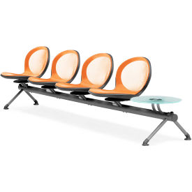 OFM NET Series 5-Unit Beam Seating with 4 Seats and 1 Table, Orange