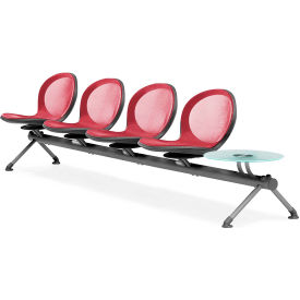 OFM NET Series 5-Unit Beam Seating with 4 Seats and 1 Table, Red