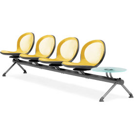 OFM NET Series 5-Unit Beam Seating with 4 Seats and 1 Table, Yellow