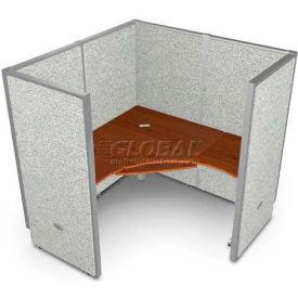 "OFM RiZe 1 Workstation Unit Kit 63""H x 60""W, Full Vinyl Panel, Gray Panel/Cherry Desk"