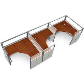 "OFM RiZe 3 Workstation Unit Kit 47""H x 60""W, Vinyl Panel w/ Translucent Top, Gray Panel/Cherry Desk"