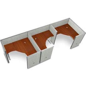"OFM RiZe 3 Workstation Unit Kit 47""H x 60""W, Full Vinyl Panel, Gray Panel/Cherry Desk"