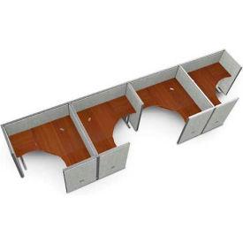 "OFM RiZe 4 Workstation Unit Kit 47""H x 60""W, Full Vinyl Panel, Gray Panel/Cherry Desk"