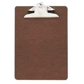 "Officemate® Hardboard Clipboard, 6"" x 9"", Brown"