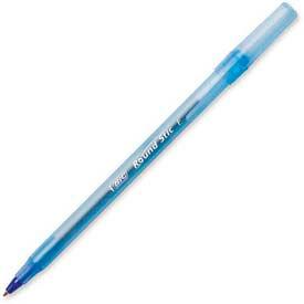 Bic® Round Stic Ballpoint Pen, Fine, Blue Ink, Dozen