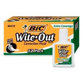 Bic® Wite-Out® Extra Coverage Correction Fluid, Foam Applicator, 20 ml, White, 12/Dozen
