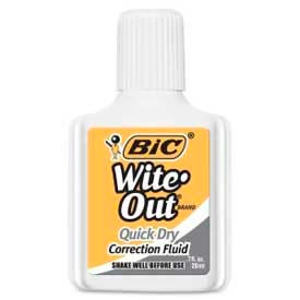 Bic® Wite-Out® Quick Dry Correction Fluid, Foam Applicator, 20 ml, White, 1 Pack