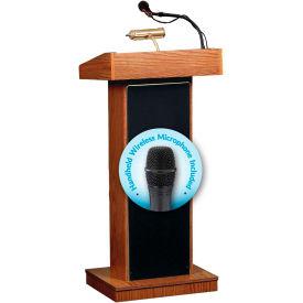 Oklahoma Sound Fixed Height Orator Podium / Lectern & Wireless Handheld Mic, Medium Oak