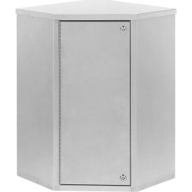 "Omnimed® Stainless Corner Narcotic Cabinet, Single Door, 4 Adjustable Shelves,24""W x 8""D x 24""H"