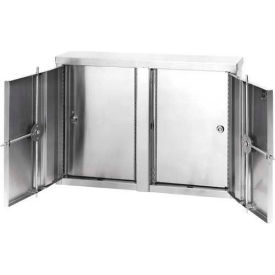 """Omnimed® Stainless Twin Narcotic Cabinet, Double Door, 4 Adjustable Shelves, 22""""W x 4""""D x 15""""H"""