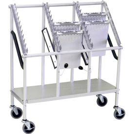 """Omnimed® Wheeled Chart Carrier, 3-Tier, 33""""W x 13""""D x 37""""H, Anodized Aluminum"""