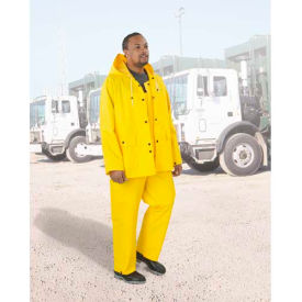 "Onguard Protex 48"" Yellow Coat W/Hood Snaps, Heavy Duty PVC, Size 2X"
