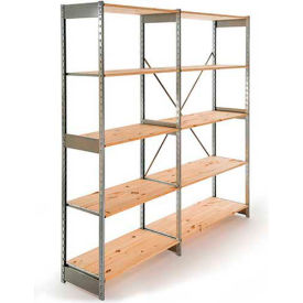 "Excalibur Stockroom Shelving, AD6153684, 36""W X 15""D X 84""H, Galvanized/Pine, 6-Shelf-Add On"