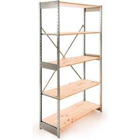 "Excalibur Stockroom Shelving, SD5123672, 36""W X 12""D X 72""H, Galvanized/Pine, 5-Shelf-Starter"