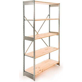 "Excalibur Stockroom Shelving, SD7244896, 48""W X 24""D X 96""H, Galvanized/Pine, 7-Shelf-Starter"