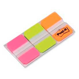 "Post-it® Durable Tabs, 1"" Solid, Pink/Green/Orange, 22 Tabs/Color, 66 Tabs/Dispenser"