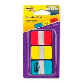 "Post-it® Durable Tabs, 1"" Solid, Red/Yellow/Blue, 12 Tabs/Color, 36 Tabs/Dispenser"