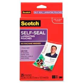 "Scotch® Self-Sealing Laminating Pouches with Clips, 4-1/16"" x 2-15/16"", Clear, 25/Pack"