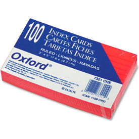 "Oxford® Rule Index Cards 7321CHE, 3"" x 5"", Cherry, 100/Pack"