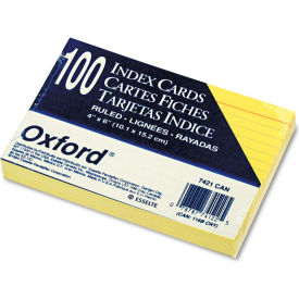 """Oxford® Rule Index Cards 7421CAN, 4"""" x 6"""", Canary, 100/Pack"""