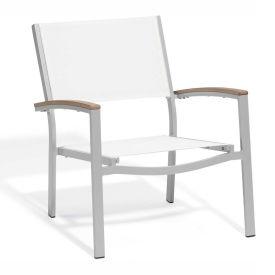 Oxford Garden® Travira Chat Chair, Natural Sling, Tekwood Vintage Armcaps, 2/pack