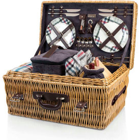 Picnic Time Carnaby Street Hand Crafted Willow Picnic Basket w/ Accessories for Four by