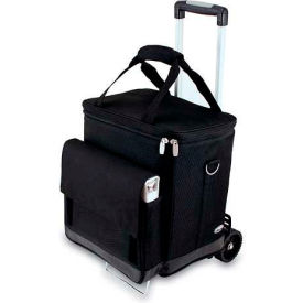 Picnic Time Cellar Wine Tote with Trolley, Black