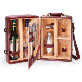 Picnic Time Manhattan Two-Bottle Wine Carrier, Burgundy with Tan Interior