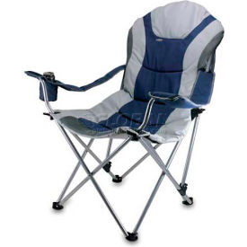 """Picnic Time Reclining Camp Chair 803-00-138-000-0, 36""""W X 33""""D X 42""""H, Navy and Silver Gray"""