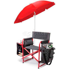 """Picnic Time Fusion Chair 807-00-600-000-0, 33""""W X 24""""D X 18.5""""H, Dark Gray with Red"""