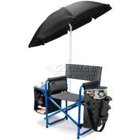 "Picnic Time Fusion Chair 807-00-639-000-0, 33""W X 24""D X 18.5""H, Dark Gray with Blue"