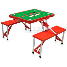 Picnic Time Poker Portable Folding Picnic Table with Seats, Red