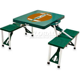 Picnic Time Football Portable Folding Picnic Table with Seats, Hunter Green
