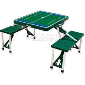 Picnic Time Football Field Portable Folding Picnic Table with Seats, Hunter Green