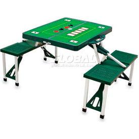 Picnic Time Poker Portable Folding Picnic Table with Seats, Hunter Green