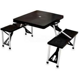 Picnic Time Portable Folding Picnic Table with Seats, Black