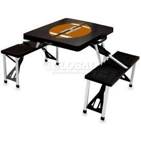 Picnic Time Football Portable Folding Picnic Table with Seats, Black