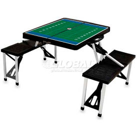 Picnic Time Football Field Portable Folding Picnic Table with Seats, Black