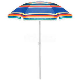 "Picnic Time 63"" Multi-Color Striped Polyester Umbrella"