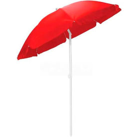 Picnic Time 5.5' Solid-Colored Polyester Umbrella Red