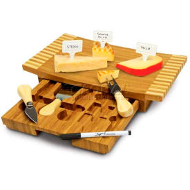 Picnic Time Concavo Cutting Board with Cheese Tools