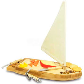 Picnic Time Sailboat Cutting Board with Cheese Tools