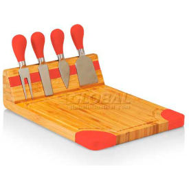 Picnic Time Artisan Cutting Board with Cheese Tools, Natural Wood with Red Accents
