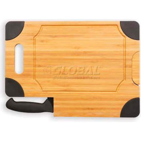 Picnic Time Culina Cutting Board with Carving Knife, Natural Wood with Black Accents