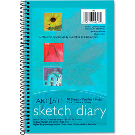 "Pacon® Art1st Sketch Diary 4790, 9"" x 6"", White, 70 Sheets/Pad"