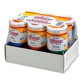Pacon® Spectra® Glitter Assortment, 4 oz., 6 Colors, 6 Jars/Pack