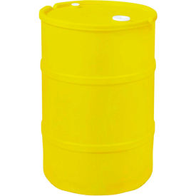 US Roto Molding 55 Gallon Plastic Drum SS-CH-55 - Closed Head with Bung Cover - Lever Lock - Yellow
