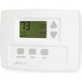 PECO Commercial Digital Fan Coil Thermostat With Auto-Cool-Heat-Off Switch, 3-Speed Fan