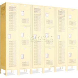 "Penco 602112V*-052 Invincible II Group End For 2 Tier Lockers, Perf, 16 Ga, 15""D X 72""H, Reflex Blue"