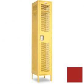 "Penco 6A145-722 Invincible II Locker, 1 Tier Basic Unit, 15""W X 18""D X 60""H, Patriot Red"